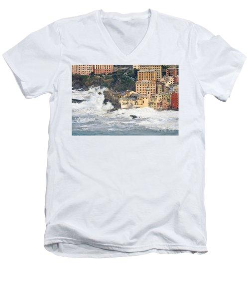 Men's V-Neck T-Shirt featuring the photograph Sea Storm In Camogli - Italy by Antonio Scarpi