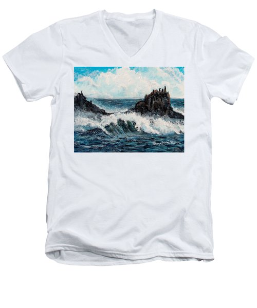 Men's V-Neck T-Shirt featuring the painting Sea Whisper by Shana Rowe Jackson