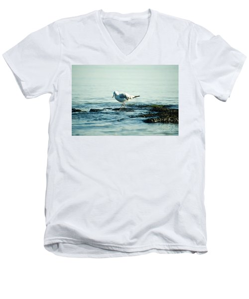 Men's V-Neck T-Shirt featuring the photograph Seagull Hunting by Yew Kwang