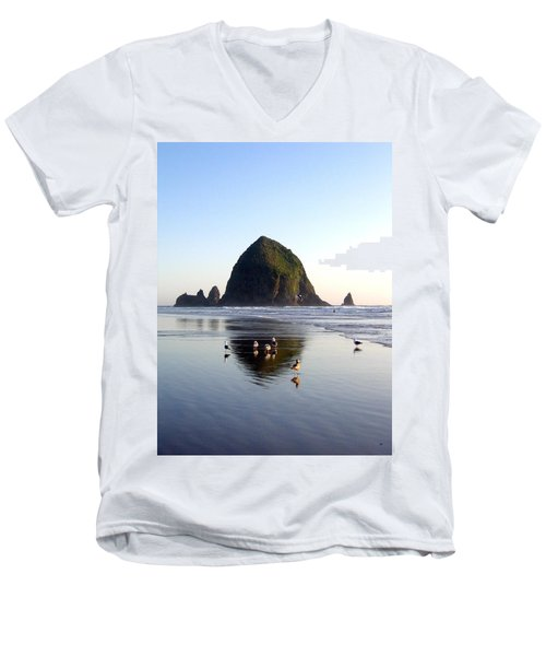 Seagulls And A Surfer Men's V-Neck T-Shirt