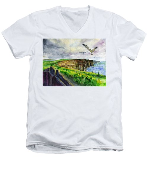 Seagulls At The Cliffs Of Moher Men's V-Neck T-Shirt by John D Benson