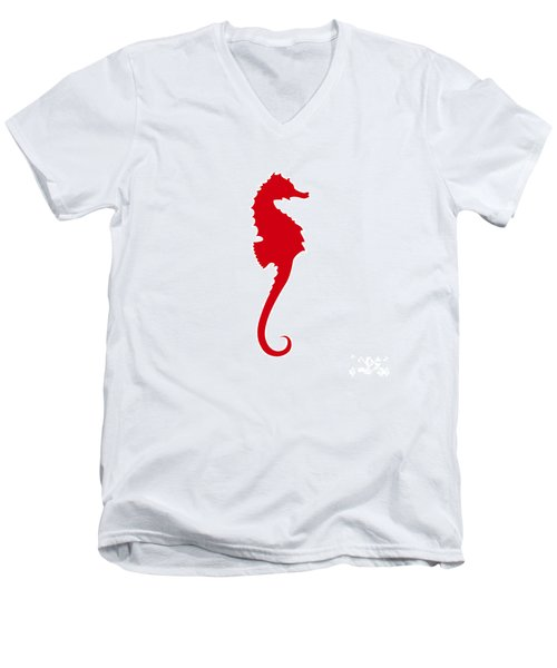 Seahorse In Red Men's V-Neck T-Shirt
