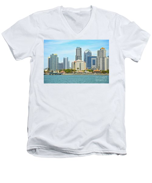 Seaport Village And Downtown San Diego Buildings Men's V-Neck T-Shirt by Claudia Ellis