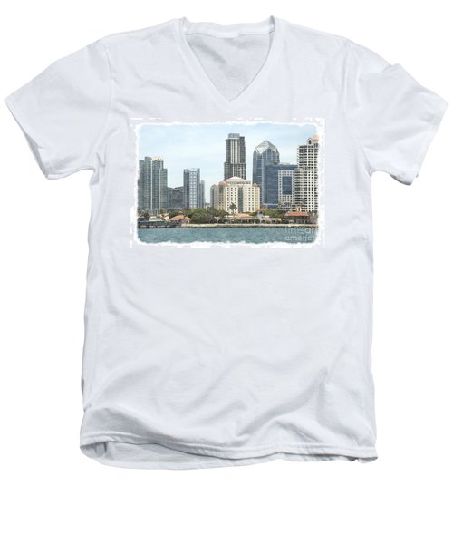 Seaport Village And Downtown San Diego Watercolor Men's V-Neck T-Shirt by Claudia Ellis