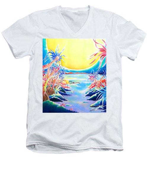 Seashore In The Moonlight Men's V-Neck T-Shirt