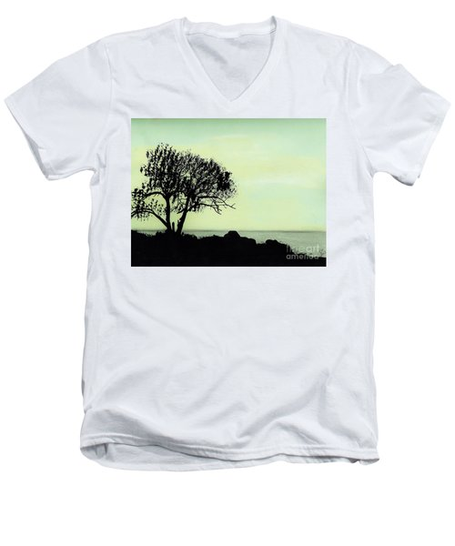 Men's V-Neck T-Shirt featuring the drawing Seashore Silhouette by D Hackett