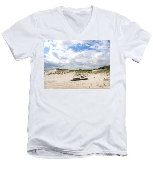 Men's V-Neck T-Shirt featuring the photograph Seaside Driftwood And Dunes by Pamela Hyde Wilson