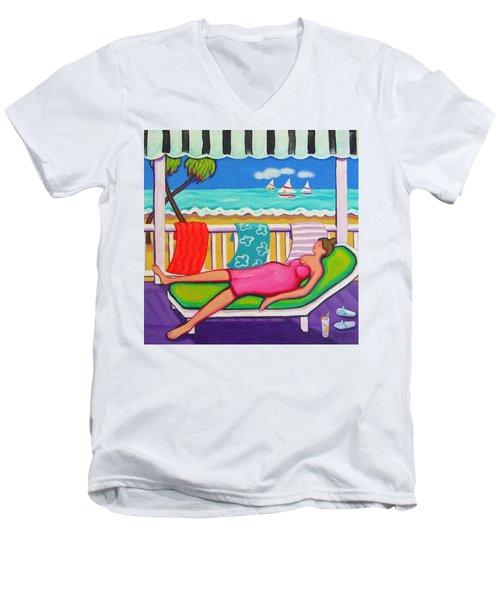 Seaside Siesta Men's V-Neck T-Shirt by Rebecca Korpita