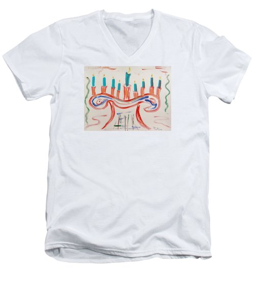 Men's V-Neck T-Shirt featuring the painting Season Of The Lights by Mary Carol Williams