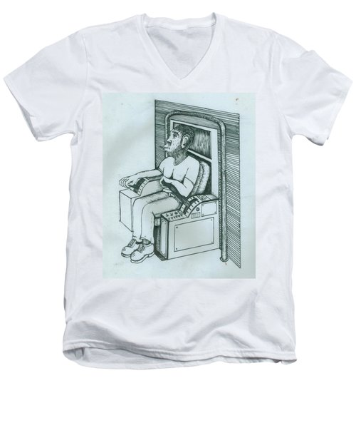 Seated Monkey Sketch Men's V-Neck T-Shirt