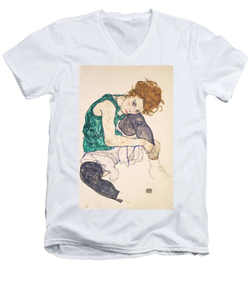 Seated Woman With Legs Drawn Up. Adele Herms Men's V-Neck T-Shirt by Egon Schiele