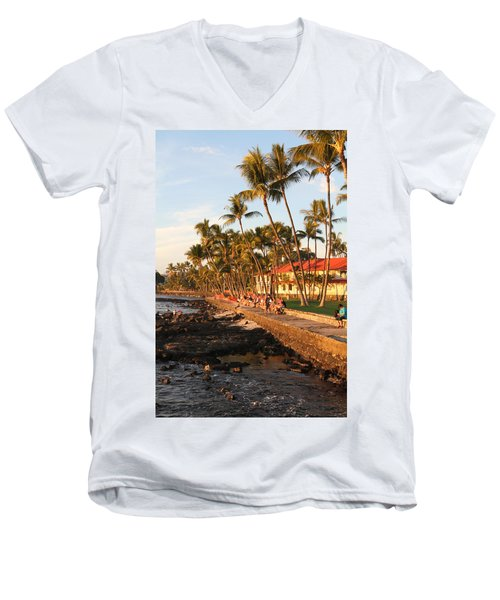 Seawall At Sunset Men's V-Neck T-Shirt by Denise Bird