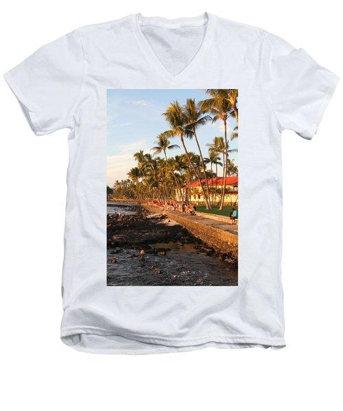 Seawall At Sunset Men's V-Neck T-Shirt