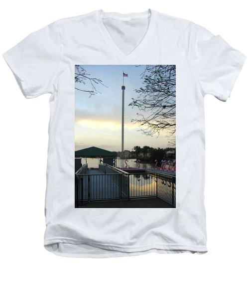 Men's V-Neck T-Shirt featuring the photograph Seaworld Skytower by David Nicholls