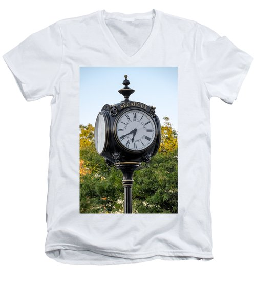 Secaucus Clock Marras Drugs Men's V-Neck T-Shirt by Susan Candelario