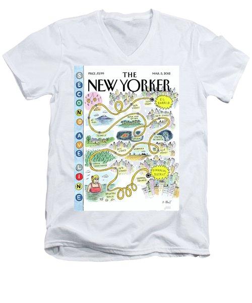 Second Avenue Line Men's V-Neck T-Shirt
