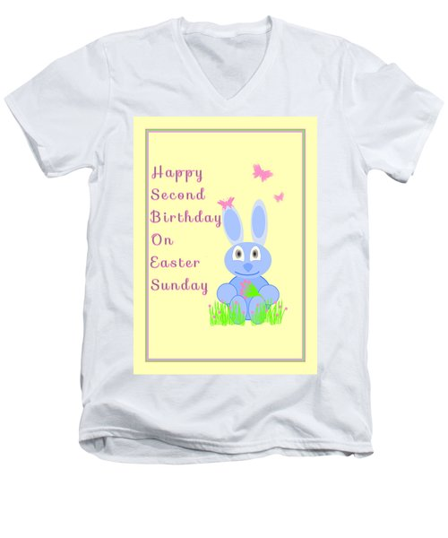 Men's V-Neck T-Shirt featuring the mixed media Second Birthday On Easter by Rosalie Scanlon