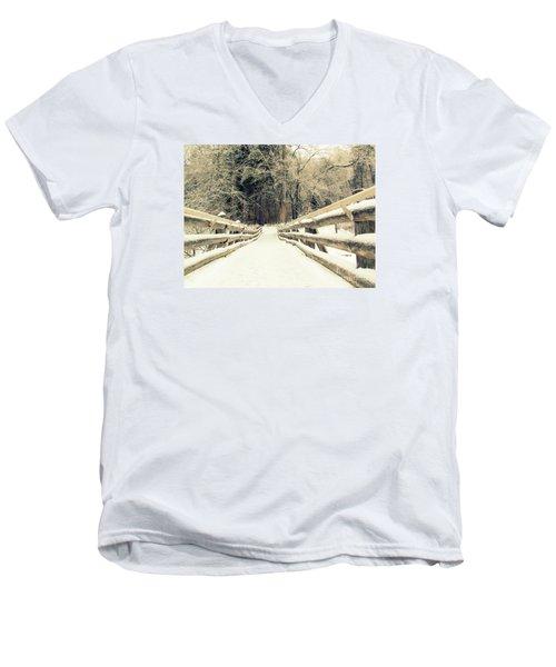 Sepia Winter Land Men's V-Neck T-Shirt by France Laliberte