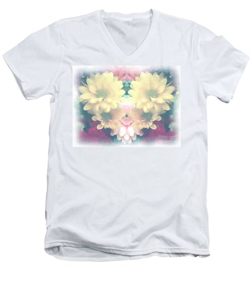 Men's V-Neck T-Shirt featuring the photograph Serene Zinnias by Luther Fine Art