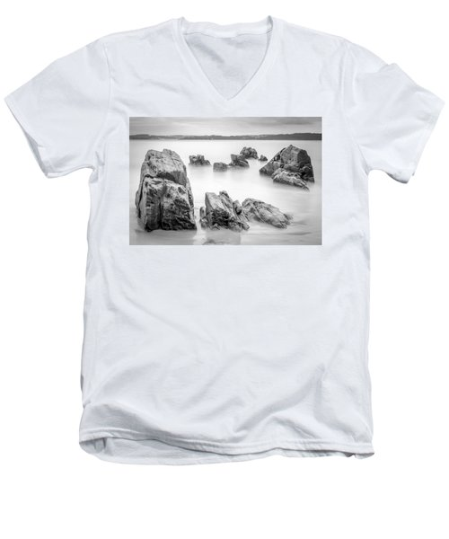 Men's V-Neck T-Shirt featuring the photograph Seselle Beach Galicia Spain by Pablo Avanzini