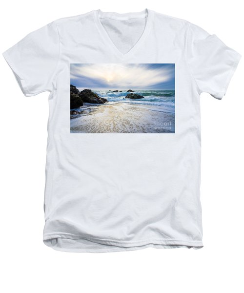 Setting Sun And Rising Tide Men's V-Neck T-Shirt by CML Brown