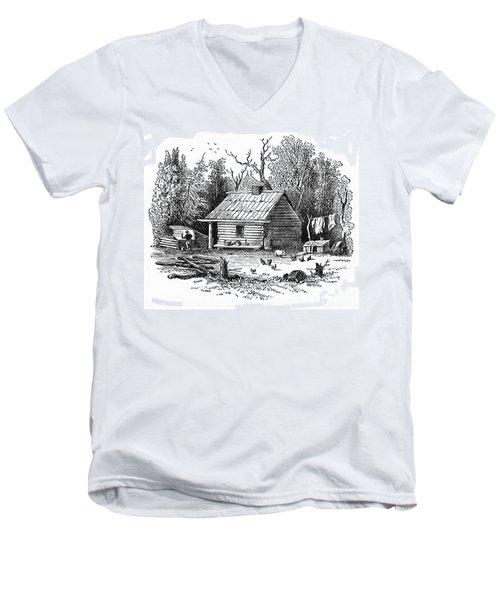 Settler's Log Cabin - 1878 Men's V-Neck T-Shirt