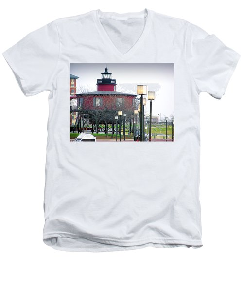 Men's V-Neck T-Shirt featuring the photograph Seven Foot Knoll Lighthouse by Brian Wallace