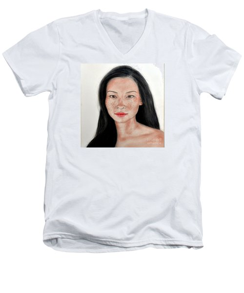 Sexy Freckle Faced Beauty Lucy Liu Men's V-Neck T-Shirt by Jim Fitzpatrick