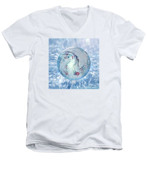 Men's V-Neck T-Shirt featuring the painting Shades Of Winter by Robin Moline