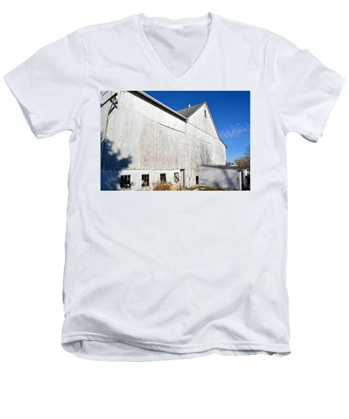 Shadow On White Barn Men's V-Neck T-Shirt