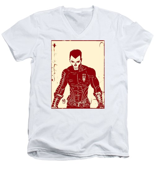 Men's V-Neck T-Shirt featuring the drawing Shadowman Poster by Justin Moore