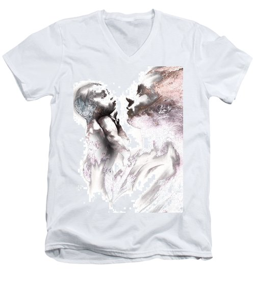 Shadowtwister Reflections Textured Men's V-Neck T-Shirt by Paul Davenport