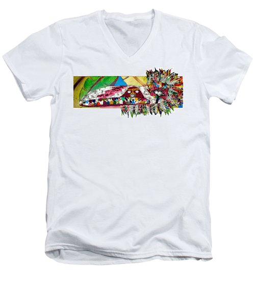 Men's V-Neck T-Shirt featuring the tapestry - textile Shango Firebird by Apanaki Temitayo M
