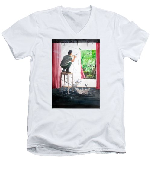 Shaping The Peace Listen With Music Of The Description Box Men's V-Neck T-Shirt by Lazaro Hurtado
