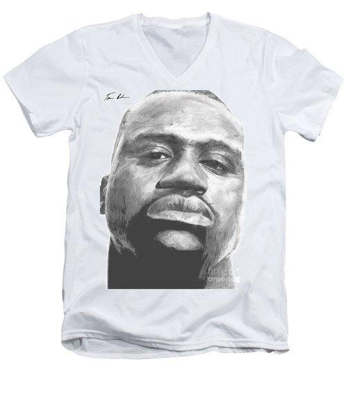 Men's V-Neck T-Shirt featuring the drawing Shaq by Tamir Barkan