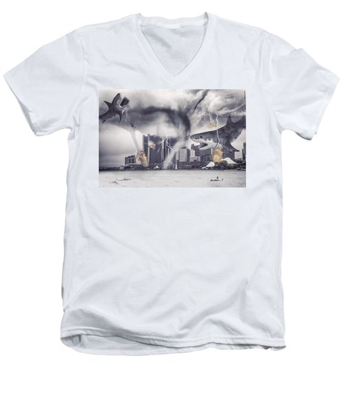 Men's V-Neck T-Shirt featuring the photograph Sharknado Detroit by Nicholas  Grunas