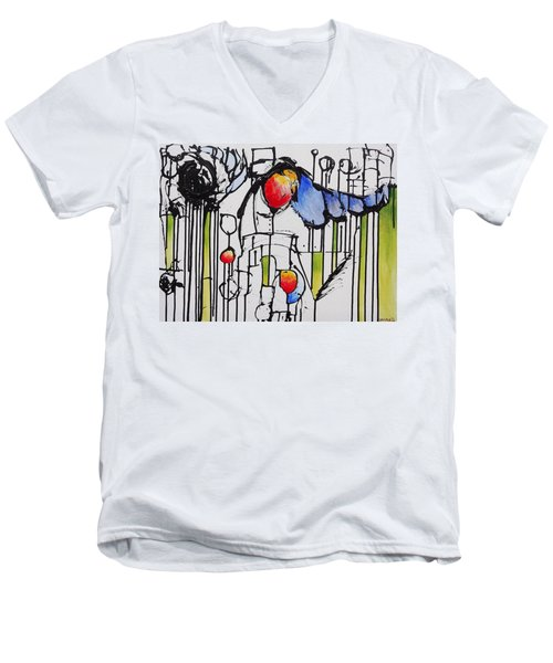 Men's V-Neck T-Shirt featuring the painting Sharpened Perception by Jason Williamson