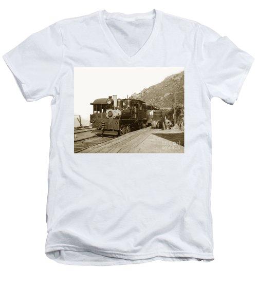 Men's V-Neck T-Shirt featuring the photograph Shay No. 498 At The Summit Of Mt. Tamalpais Marin Co California Circa 1902 by California Views Mr Pat Hathaway Archives