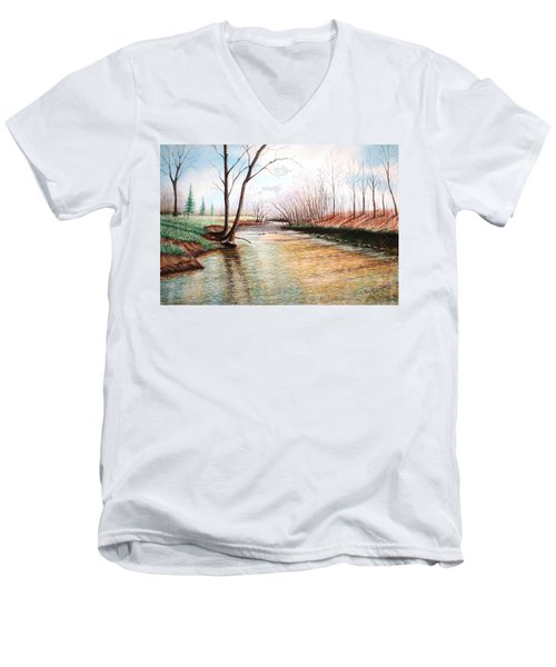 Men's V-Neck T-Shirt featuring the pastel Shelby Stream by Stacy C Bottoms