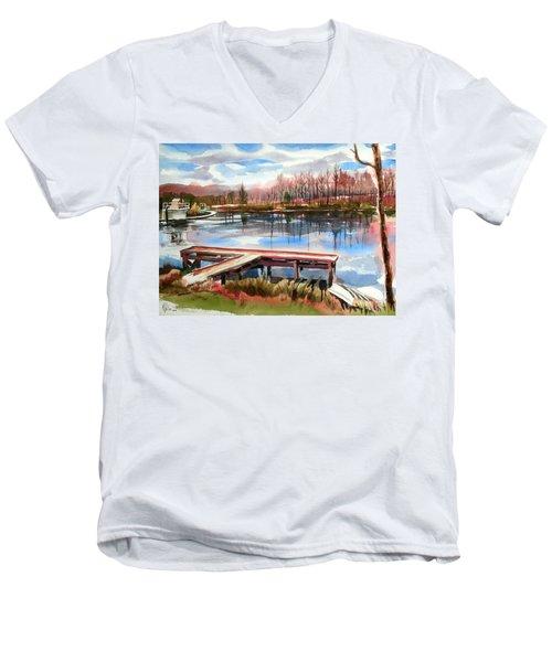 Shepherd Mountain Lake In Winter Men's V-Neck T-Shirt by Kip DeVore