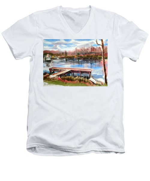 Shepherd Mountain Lake In Winter Men's V-Neck T-Shirt
