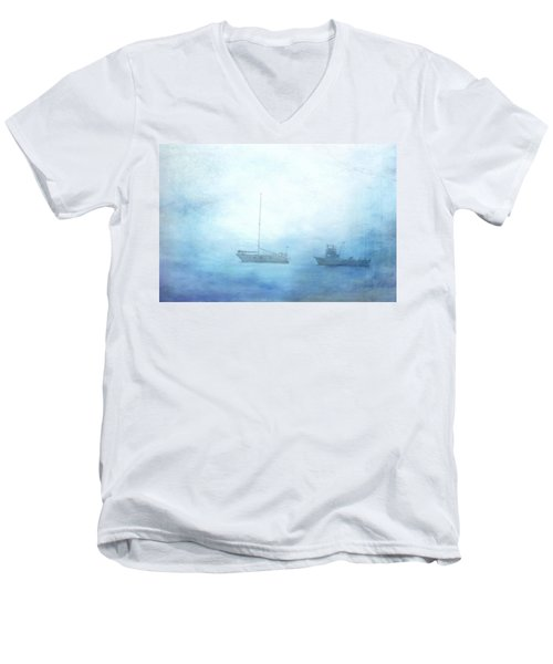 Ships In The Morning Haze  Men's V-Neck T-Shirt