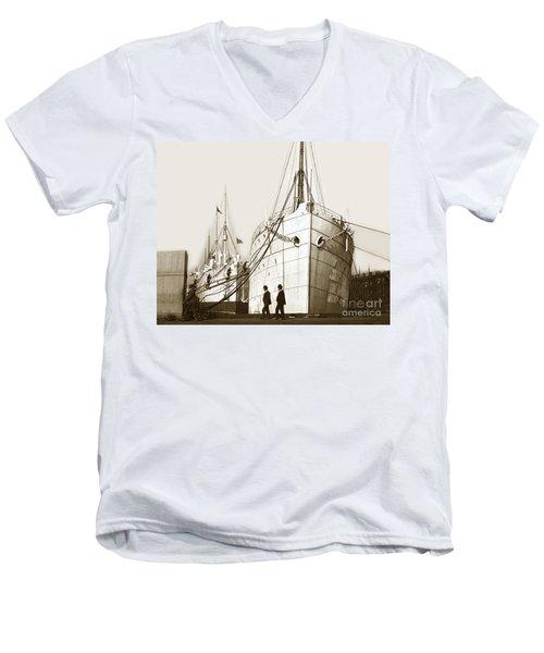 Men's V-Neck T-Shirt featuring the photograph Steam Ships San Francisco California   Circa 1900 Historical Photo by California Views Mr Pat Hathaway Archives