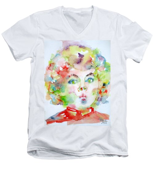 Shirley Temple - Watercolor Portrait.2 Men's V-Neck T-Shirt by Fabrizio Cassetta