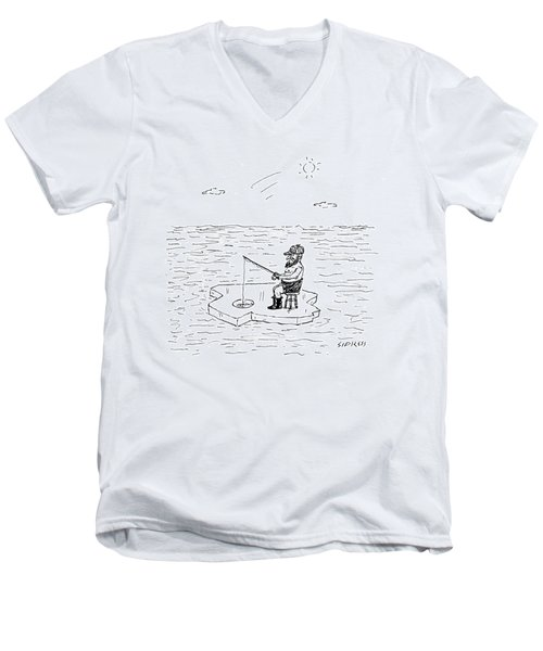 Shirtless Man Ice Fishing Men's V-Neck T-Shirt