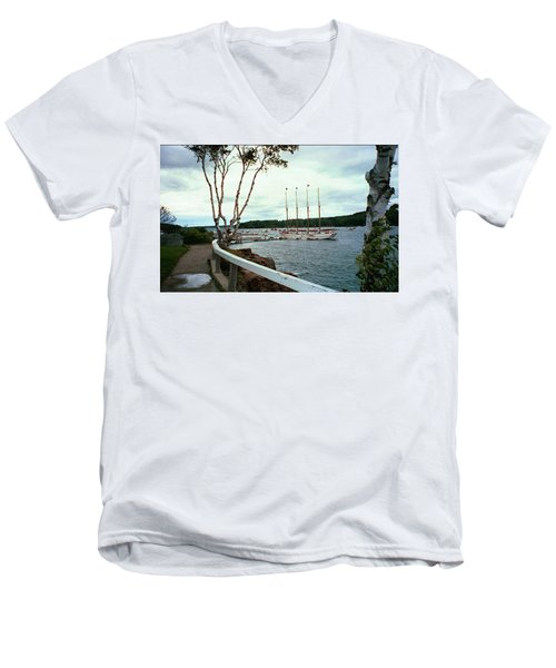 Shore Path In Bar Harbor Maine Men's V-Neck T-Shirt
