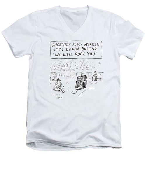 Shortstop Buddy Harkin Sits Men's V-Neck T-Shirt