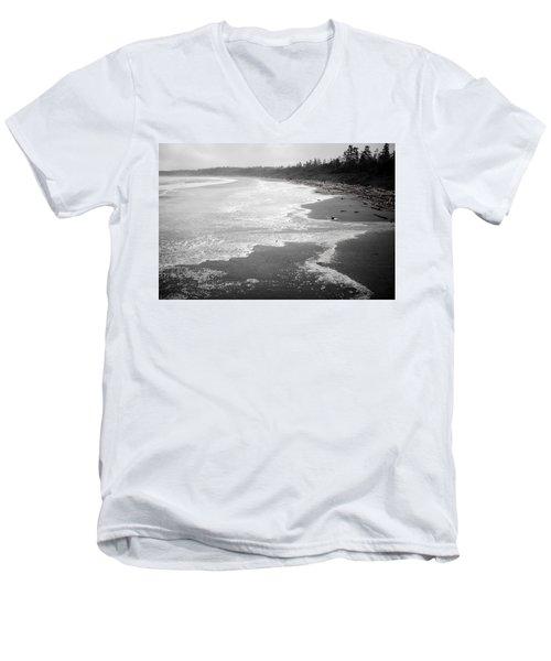Winter At Wickaninnish Beach Men's V-Neck T-Shirt by Roxy Hurtubise