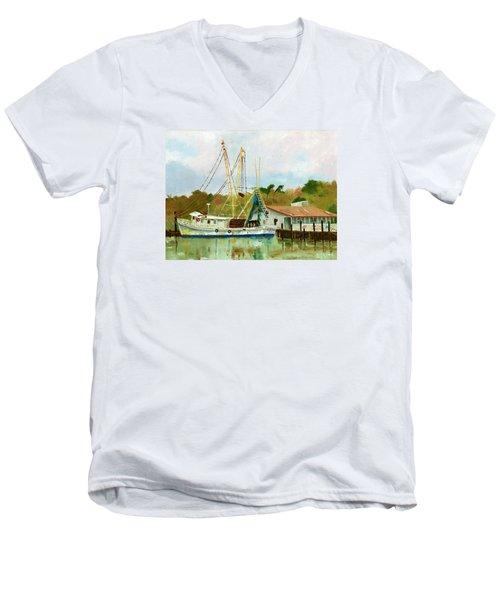 Shrimp Boat At Dock Men's V-Neck T-Shirt