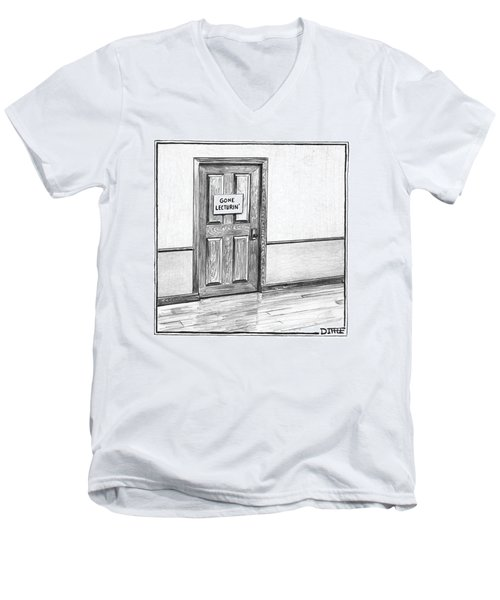 Shut Door In A Hallway With A Sign That Read Gone Men's V-Neck T-Shirt